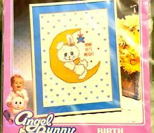 """TOO TOO CUTE Cross Stitch Picture Kit ANGEL BUNNY Baby Birth Announcement 8""""x10"""""""