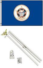 2x3 2'x3' State of Minnesota Flag White Pole Kit Set