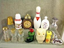 Lot Of 13 Avon Bottles Deer Bowling Pin Clock Thimble Owl Christmas Boot Misc.