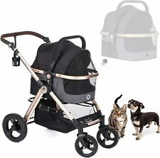 PET ROVER PRIME Luxury 3-in-1 Stroller for Small/Medium Pets - Black - Open Box