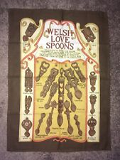 Vintage  Linen Tea Towel Welsh Love Spoons