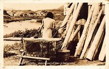 Real Photo Postcard Woman Doing Laundry on Wash Day in Unalaska, Alaska~109668