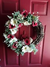 Vine Wreath Red and White Flowers