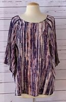 New NIC + ZOE Womens Size L Printed Silk Blend Lightweight Slit Sleeve Top NWOT