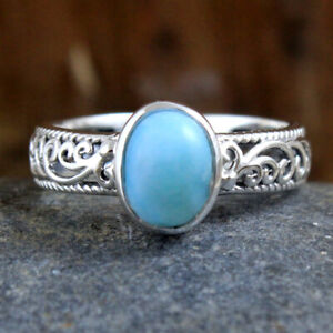 Larimar Oval shape Gemstone 925 sterling Silver Jewelry Ring Size US 6