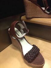 Women shoes sandals high heels wedge leather color brown size 7.5