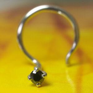 1.7mm Real Black Diamond Wedding Engagement 14k Gold Nose Piercing Pin Ring Stud