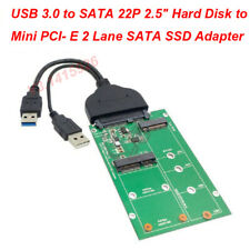 "USB 3.0 to SATA 22P 2.5"" Hard Disk to Mini PCI- E 2 Lane M.2 & mSATA SSD Adapter"