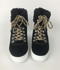 e8f7a7d73 Sam Edelman Black Luther High Top Sneaker Womens 10 Faux Shearling Suede New
