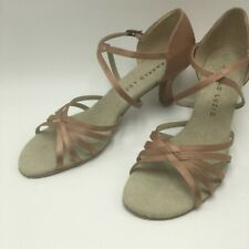 Angelo Luzio 5-strap ballroom dance shoe satin light copper tan 10 11 new