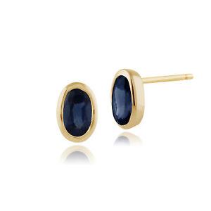 Gemondo 9ct Yellow Gold 0.67ct Light Blue Sapphire Oval Framed Stud Earrings