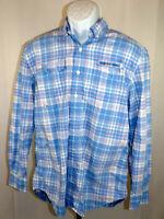 Vineyard Vines Harbor Shirt Men's Medium Blue Check Vented Long Sleeve Fishing