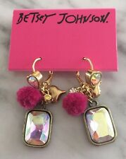Auth. Betsey Johnson Vintage Varsity Crush Pom Pink Cluster Heart Stone Earrings