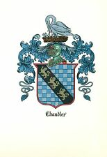 *Great Coat of Arms Chandler Family Crest genealogy, would look great framed!