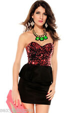 Black with Red  Sequin Bodice Peplum Style  Dress Stretchy S/M 8-12