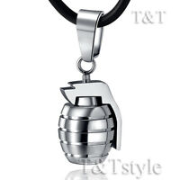 High Polished T&T Stainless Steel Grenade Pendant Necklace Silver (NP180S)