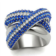 Blue & Clear Crystal Pave Silver White Gold EP Ladies Paloma Ring Size 7