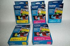 LOT-5 Brother Ink Cartridges Cyan Magenta Yellow LC65HY-Y LC65HY-M LC65HY-C NEW