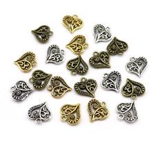 Antik Vintage Herz Metall Anhänger - Gold Silber Bronze - Halskette Bastel Liebe