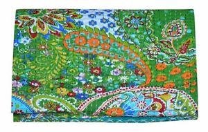 Green Paisley Print Vintage Kantha Quilt Cotton Bedspread Handmade Blanket