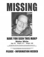 "Breaking Bad Walter White Missing Flyer 8.5"" x 11"" Flyer/Poster Prop/Replica"
