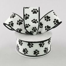 "10 Yards Black Paw Print Pawprint Dog Cat Wired White Ribbon 1 1/2"" 30 Feet 1.5"""