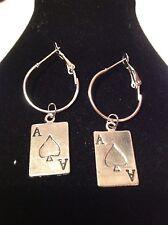 ace of spades  silver plated earrings hoops