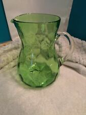 Large Pitcher Blown Bevel Green Depression Glass for Water/Juice,  Beautiful !!