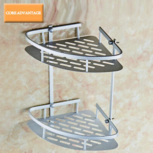 2 Tier Shower Caddy Corner Basket Storage Wall Mounted Bath Shelf Rack Aluminum