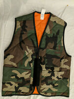 NWOT's Reversible Woodland Camo BDU / Bright Orange Hunting Cot/Poly Vest Small
