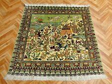 Orientteppich Teppich Seidenteppich Hereke Bilderteppich 93x91 Luxus Pur