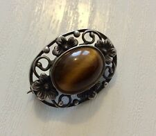 Beautiful Early Vintage Solid Silver Tigers Eye Brooch