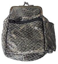(1) Black Snake Skin Design Leather CIgarette Case Holds 100's, 3204BKSN