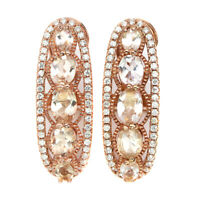 Unheated Oval Pink Morganite 6x4mm White Cz 925 Sterling Silver Earrings