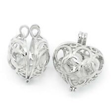 15PCs Copper Charm Pendants Hollow Heart Bead Cages Silver Tone