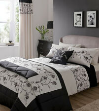 Catherine Lansfield Textured Border (Black) Single Bed Set  NEW