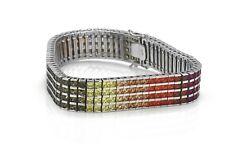 "925 Sterling Silver 4 Row Rainbow MultiColor Lab Sapphire Tennis 7.5"" Bracelet"