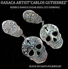 CARLOS GUTIERREZ~Dia de los Muertos~Sugar Skull~Double Dangle 925 Earrings