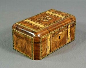 19c.Antique Tunbridge Ware Marquetry Sewing Trinket Wooden Box Butterfly Moth