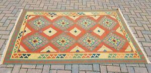 220cm x 136cm Early 20th Century Vintage Kelim Rug with Geometric Pattern