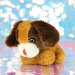 Vintage KAMAR Small Mini Plush Dog Stuffed Animal Toy Brown White Red Nose BG047