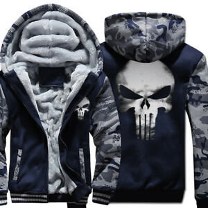 The Punisher Skull Luminous Hoodie Warm Sweater Thick Jacket Winter Fleece Coat