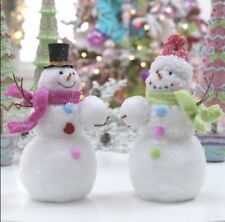"Raz Imports!  SET OF TWO-11"" Snowman w/Pink & Black Hat! Christmas home decor!"