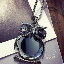Crystal Owl Rhinestone Necklace & Pendant Long Sweater Chain Jewelry Fashion UK Black Gun