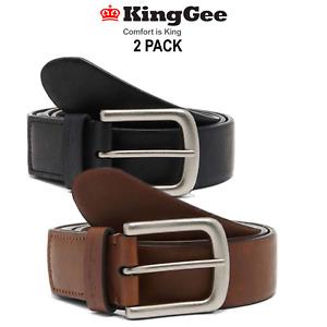 KingGee 2 Pack Stretch Logo Belt Leather Elastic Active Work Steel Buckle K99027