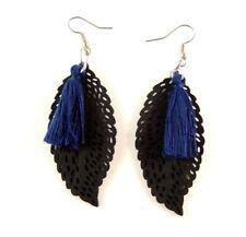 Navy Blue Cotton Tassels Lightweight Laser Cut Black Wood Dangle Earrings #877