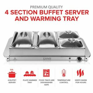4 SECTION ELECTRIC FOOD WARMER BUFFET SERVER TEMPERATURE HOT PLATE TRAY COOKING