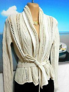 "Max & Co chunky beige cotton cardigan, tie belt, sz. 10/S ""NATURAL WONDERS"""