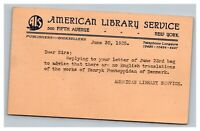 Vintage 1925 Correspondence Postcard American Library Service 5th Ave New York