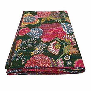 Indian Handmade Twin Cotton Kantha Quilt Vintage Throw Blanket Bedspread Gudari